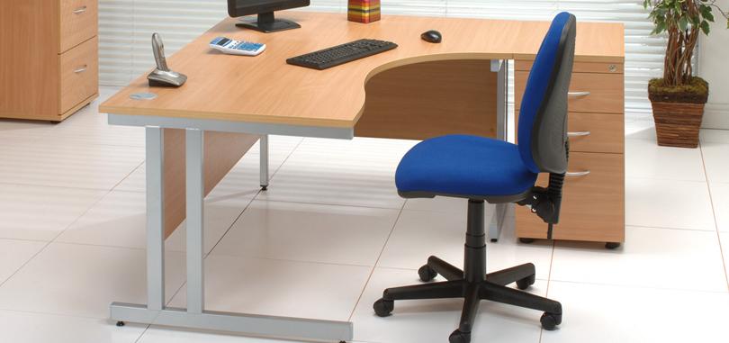 Budget office desk single workstation modesty panel and extension desk