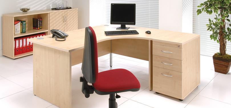 Budget office desk single workstation with pedestal