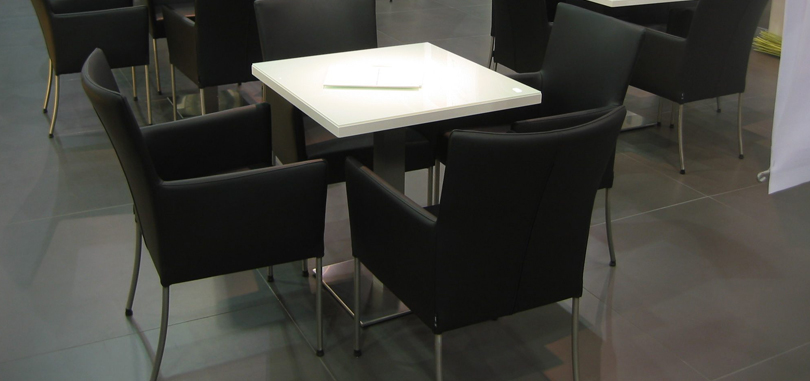 Canteen Breakout Seating in Black and White table
