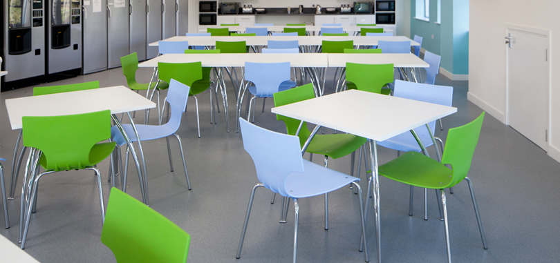 Canteen Breakout Seating in green and white