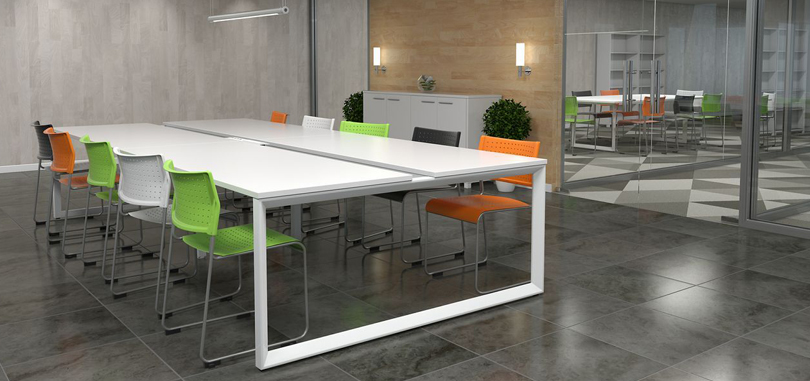 Canteen Breakout Tables in Block style with multi coloured chairs