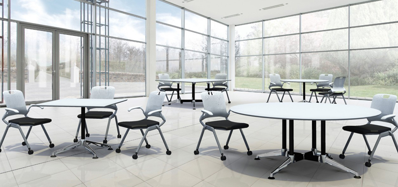 Canteen Breakout Tables in white with metal frame