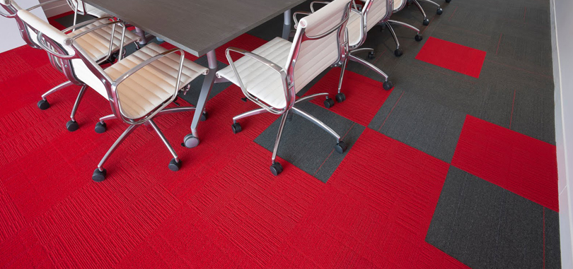 Carpet Tiles in combination of red and grey