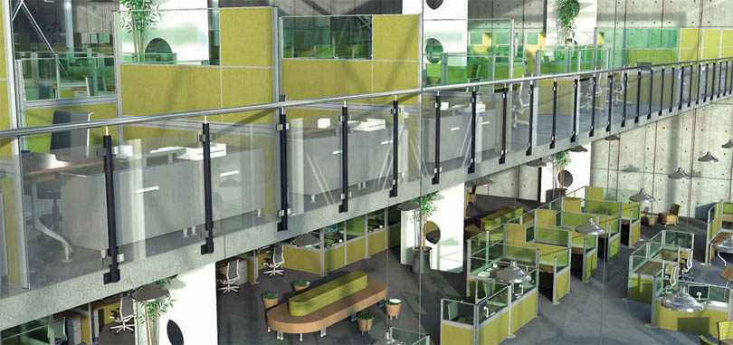 Office with green freestanding screens and soft seating