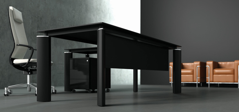 Executive office desks in black with pedestal and modesty panel