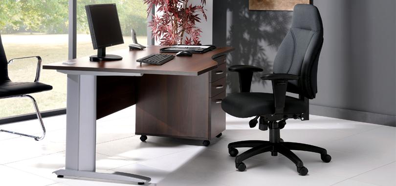 Executive office desks with metal leg and pedestal