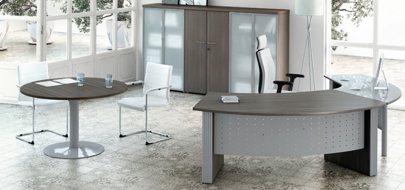Executive office desks with metal modesty panel in wood