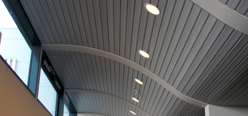 linear office ceiling acoustic-suspended ceiling metal strip curved