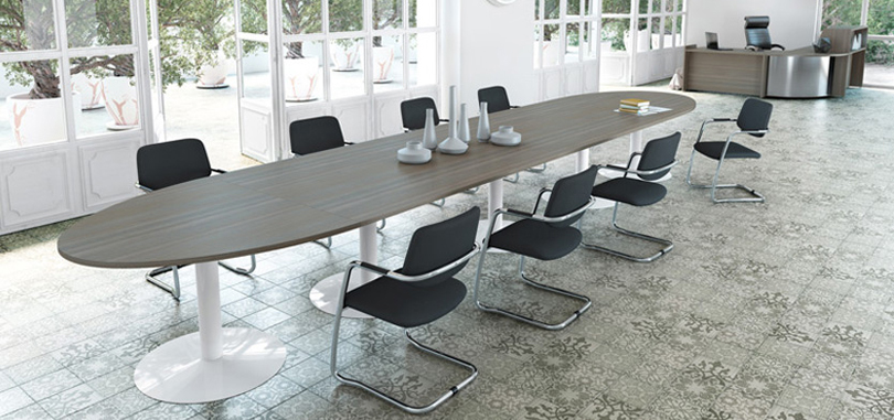 Office boardroom furniture expandable table with trumpet legs