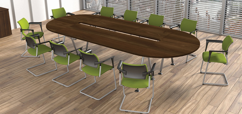 Office boardroom furniture in Dark walnut with green chairs