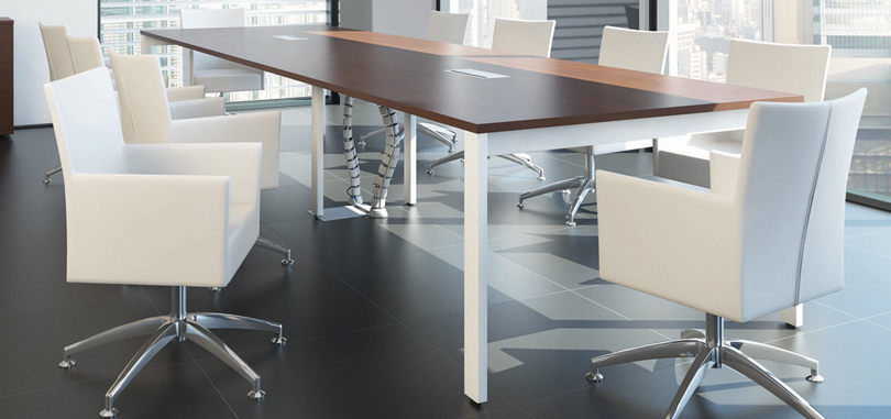 Office boardroom furniture rectangular table with white legs
