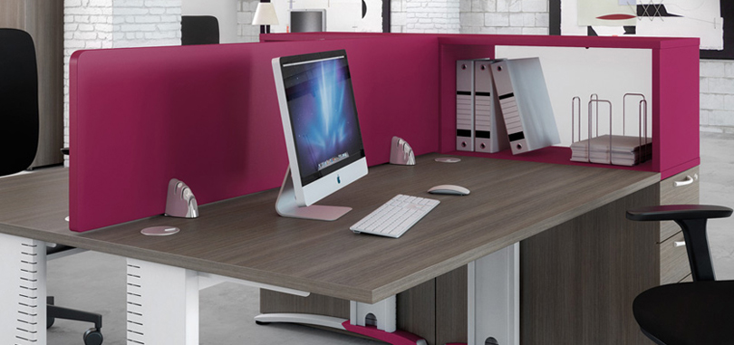 Office Desk Screens Raspberry Coloured Screen Panel