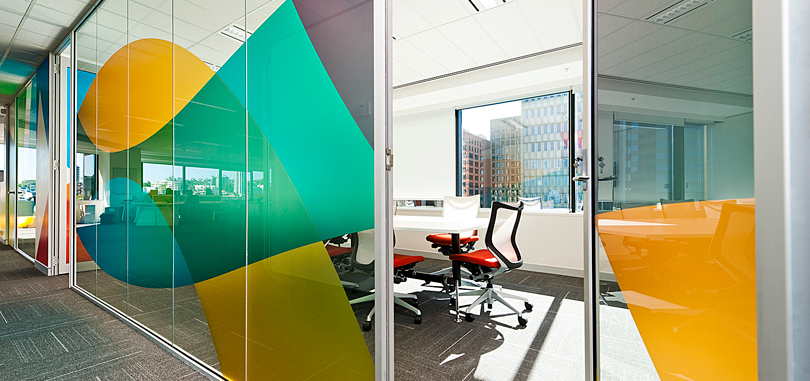 office glass partitions coloured glass sticker
