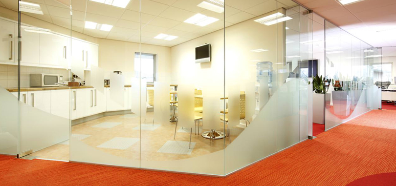 office glass partitions half frosted