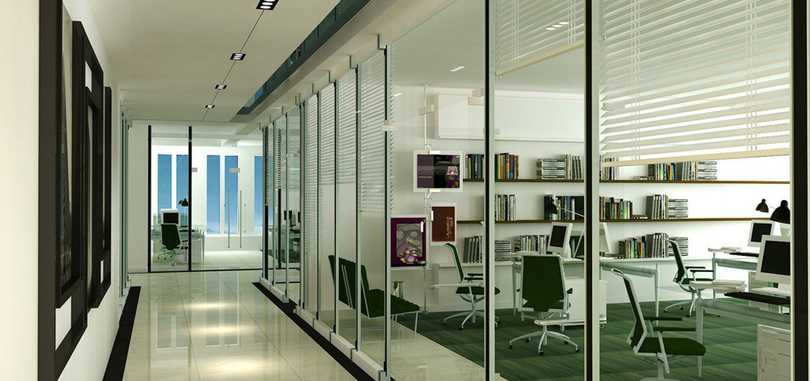 office glass partitions with blinds glass door