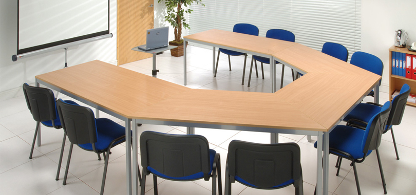 office training rooms trapezoidal table with Silver Legs