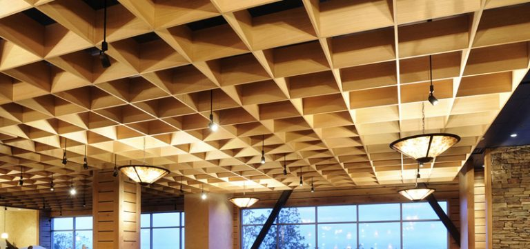 Open cell ceilings with lightings
