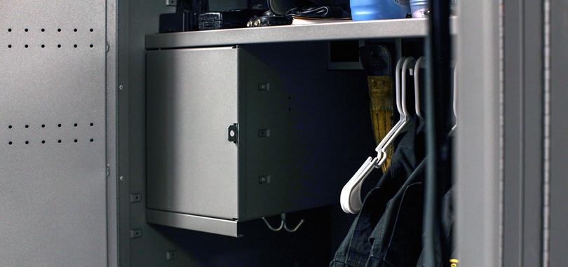 Personal Storage employee locker with cloth hanger