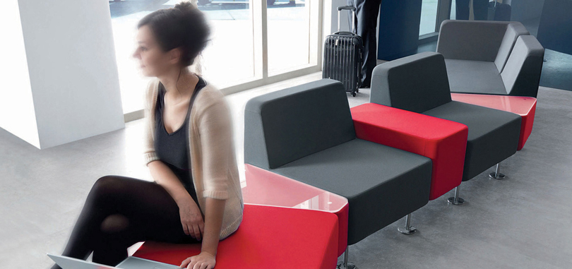 reception seating furniture black and red cushion