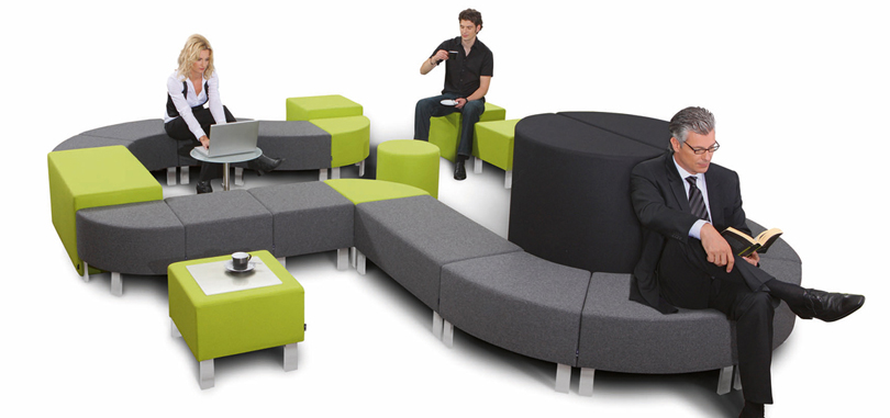reception seating furniture in green and grey