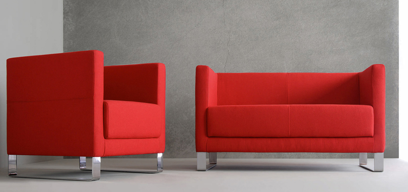 reception seating furniture red with metal frame and armrests