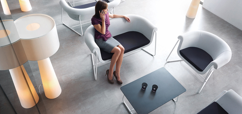 Soft Seating Office Furniture in black and white colour with white metal frame