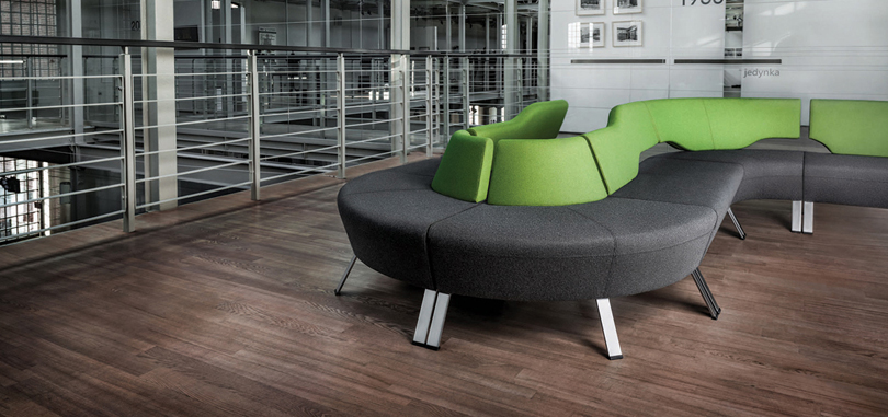 Soft Seating Office Furniture in grey and green with metal frame