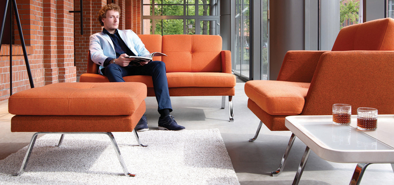 Soft Seating Office Furniture in tangerine