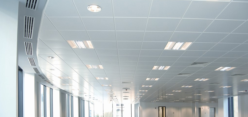 suspended ceiling in white tile